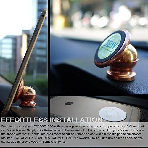 Montaje en el Auto  J.B.W. Juego de Montaje de Cuna Giratorio de 360 Grados de Soporte de Teléfono Inteligente de Montaje en El Auto de Teléfono Celular Magnético Supremo   Oro Roso