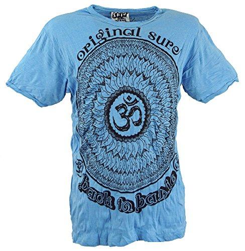 GURU-SHOP, Camiseta Sure T-Shirt Mandala OM, Azul Claro, Algodón, Tamaño:M, Camisetas Seguras