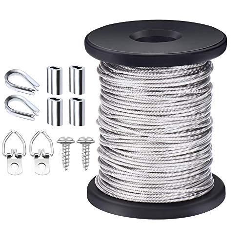 TooTaci Bilder-Aufhänger Draht mit 20 Stück D-Ring Bilderbügel mit Schrauben, 20 Stück Aluminium Crimp-Schlaufen Hülsen, 2 mm x 100 Fuß Edelstahl Draht Spule -