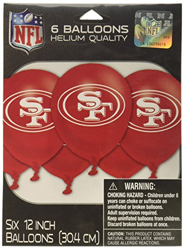 gating NFL Party San Francisco 49ers Latex Balloons (6 Piece), Multi Color, 6.5 x 4.7 by Amscan ()
