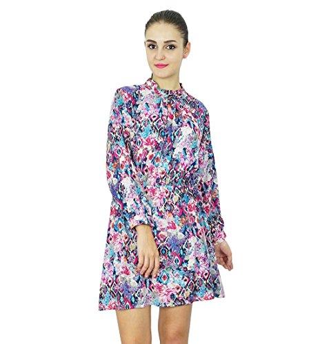 Bimba lange Hülse der Frauen Bedrucktes Kleid Rayon Lässige Stehkragen Kurzkleid Multicolour