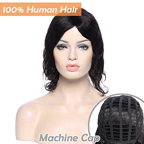 Perruques Cheveux Naturels pour Black Perruque Femme Vrai Cheveux Bresilien Cheveux Humain Remy Ondulé Noir Naturel - 10 Pouce (25cm)