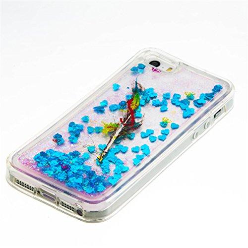 iPhone 5C Hülle, 5C Hülle, Gift_Source [ Silber & Crown Angel ] Glitzer Hülle , Liquid Case, Glitter Hülle Cool 3D Fließen Flüssig Bling Schwimmend Treibsand Stern Luxus Shiny Case Glanz Shiny Effekt  E1-Feder