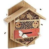 Relaxdays Hotel per Insetti Esagonale Nido per api Coccinelle da Giardino Balcone HxLxP: 33,5 x 28,5 x 10 cm Beige