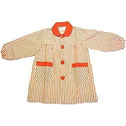 ESCOLAIN - Mandilón combinado colegio para Niño - Color - Líneas gruesa rojo y blanco. Rojo en cuello y ribete en bolsillos. - Talla - 8