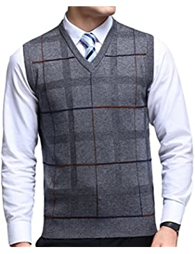 Zhhlinyuan alta calidad Mens Men's Father Business Spring Check Sleeveless V-neck Wool Pullover Knitted Jumper...