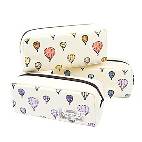 Fletion 1 PCS Large Capacity Cartoon Colorful Hot Air Balloon Pattern Pencil Case Pen Bag Pencil Holder Cosmetic Makeup Bag Stationery Storage Case Box Pouch Bag for Girls School - Color Random