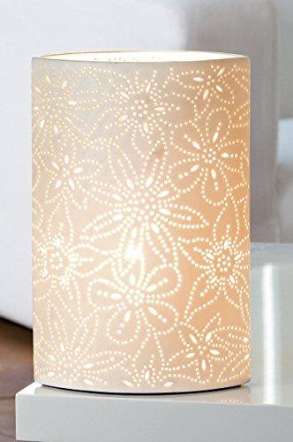 GILDE Lampe Prickel Blume - Lochmuster im Prickellook E14 max 40 Watt H 28 cm