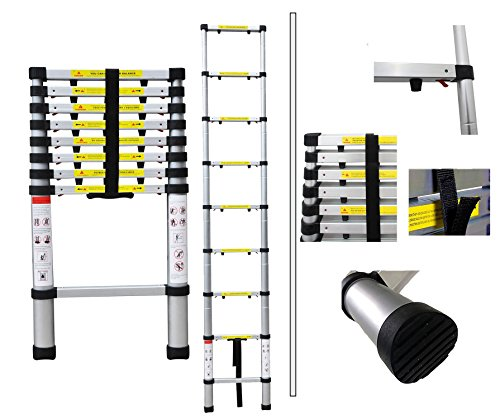 Todeco - Escalera Telescópica, Escalera Plegable - Carga máxima: 150 kg - Número de peldaños: 9-2,6 Metro(s), EN 131-6, Brecha extra