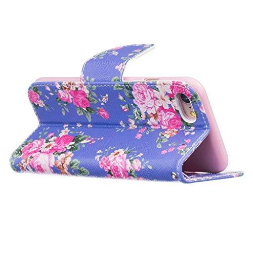 Fatcatparadise (TM) Custodia con design a flip per iPhone 5, 5S e SE, con protezione per lo schermo in vetro temperato, antigraffio, con retro  morbido in silicone, motivo decorativo colorato di alta  Flower
