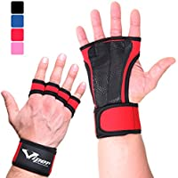 Crossfit Gloves Hand Grips - Suitable for Pull Up Bar, Gym, Weightlifting, Deadlift, Calisthenics, Gymnastics, Fitness Workout Training - Fingerless, Leather, Padded Palm Guard With Wrist Wrap Support
