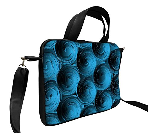 Snoogg Blue Spiral 35,6cm pollici a 36,8cm pollici a 37,1cm in ecopelle di notebook Slipcase Sleeve di trasporto e tracolla per MacBook Pro Acer Asus Dell HP Sony Toshiba
