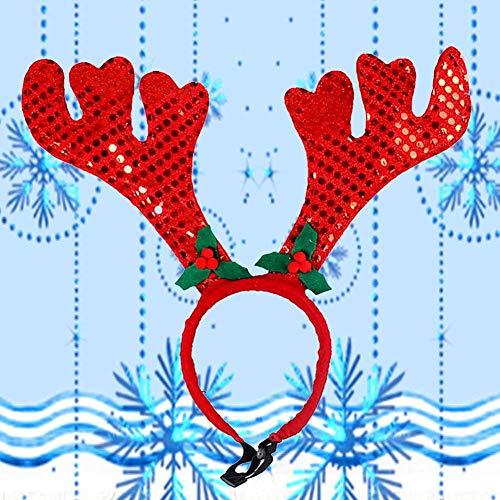 tingtin Weihnachts Kostüm Haustier Weihnachtsstirnband Rotwild Horn Geweih Verzierung Haustier Kleidung