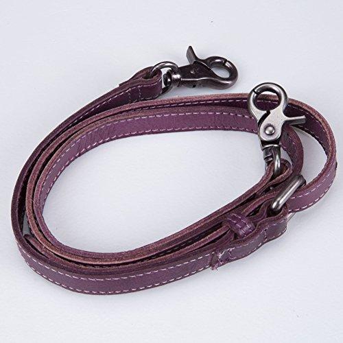 Bvane, Borsa di pelle a grana a spalla top maniglia grande capacità handbag donna viola lilla lilla