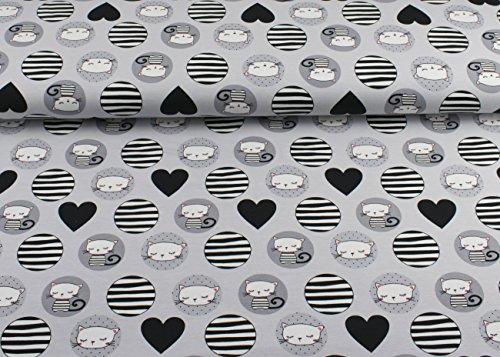 Excellenter Jersey Stoff mit Katzen im Kreis und schwarzen Herzen auf hellgrau | Maße: 25 cm x ca. 145 cm | 1A ÖKO-TEX Qualität Standard | (Jersey Katze)