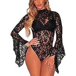 Y-BOA Combinaison Body Dentelle Transparent Dos Nu Manche Longue Col Haut Femme Noir Size1