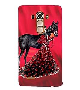 PrintVisa Fashion Horse Girl Dress Design 3D Hard Polycarbonate Designer Back Case Cover for LG G4