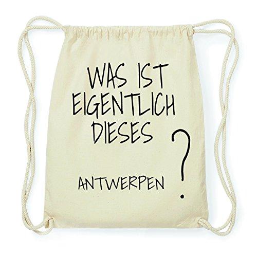 JOllify Antwerpen Hipster Turnbeutel Tasche Rucksack aus Baumwolle - Farbe: Natur - Design: was ist eigentlich - Farbe: Natur