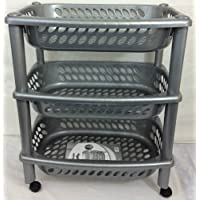 3TIER Trolley Vegetable Fruit Rack Kitchen Bathroom Storage Trolley Rack Silver