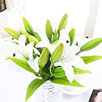 Feelava 5 PCS Artificial Lily Flower, Fake Flowers Latex Real Touch Lily Bridal Wedding Bouquets Silk Plastic Flowers Artificial Plant for Wedding Home Garden Vases Office Party Floral Decor (White)