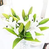 Künstliche Blumen Weiße Lilie, Feelava 5 Stück Lily Kunstblume Deko Unechte Blumen Real Touch Seiden Plastik Blumensträuße Kunstpflanze mit 3 Blütenknospen für Vasen / Hochzeit Sträuße(Weiß)