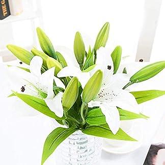 Flores Artificiales Lirio de Tela 5 Piezas Real Toque Plástica Seda Ramo de flores Arreglo Floral Falso Planta Artificial Flower para Boda, Novia Ramos, Fiesta, Hogar, Jardín, Oficina (Blanco)