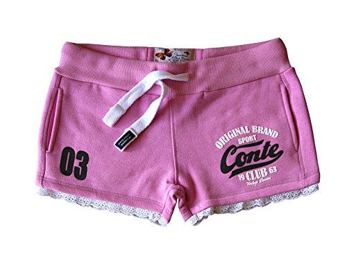 M.Conte Damen Jersey-Shorts Basic Skinni Fit Sport-Shorts / Training Retro-Shorts kurze Damen-Hose Pants Jogginghose Sporthose Blau Neon Pink Weiss Rot S M L XL Lila