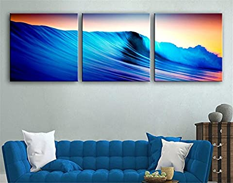 Xiuxiandianju 3 PCS Creative Blue Waves With Clock Decorative Painting Giclee Canvas Prints Frameless Paintings On Canvas Wall Art For Living Room Bedroom Home Decorations , 50*50*3