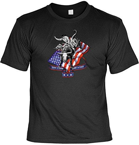 Amerika T-Shirt Rodeo USA Motiv Flaggen Shirt Amerika USA Flag USA-Flagge Herren T-Shirt American Laiberl Leiberl Geschenk für Freunde