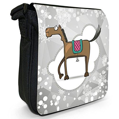 Holiday a forma di fiocco di neve di stagione-Borsa a tracolla in tela, piccola, colore: nero, taglia: S Nero (Brown Horse With Long Legs)