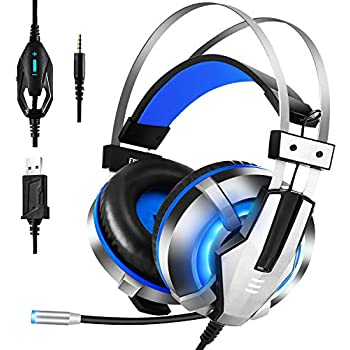 EKSA Gaming Headset for PS4, PC, Xbox One Controller, Nintendo Switch, Gaming Headphone with Adjustable Noise Cancelling Mic, LED Light, Soft Memory Earmuffs, Over-Ear Headphone for Gaming, Blue
