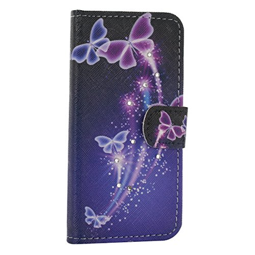 Flip Cover per iPhone SE 5SE 5 5S Glitter Portafoglio, Moonmini® Custodia PU Pelle con 3D Bling, Stand, Slot & Chiusura Magnetica - Blue Purple Butterfly in Black Sky