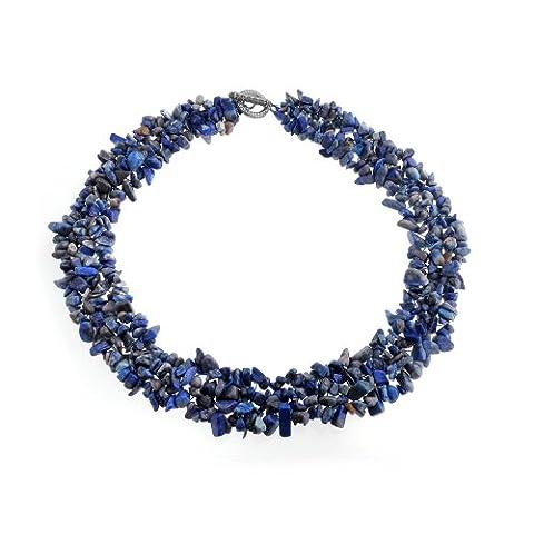 Brink brins multi Chips Lapis-lazuli simulé Cluster Chunky plaqué argent collier