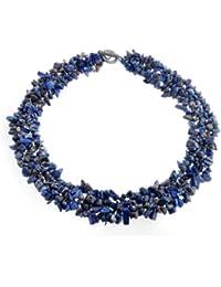 Bling Jewelry Multi filamentos Lapislázuli CHIPS simulado Chunky Collar de clúster chapados en plata.