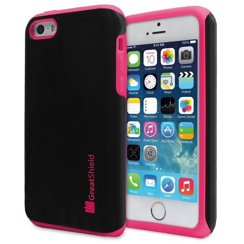GreatShield Coque fine hybride double couche pour Apple iPhone 5/5S/5C Design néon Noir/Rose