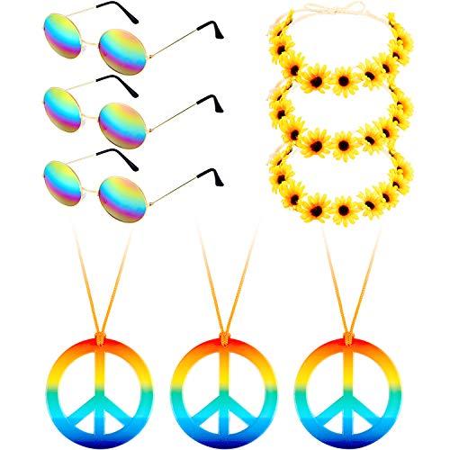 tüm Set, Beinhaltet 3 Stücke Hippie Brille, 3 Stücke Frieden Halsketten, 3 Stücke Gänseblümchen Sonnenblumen Haarbänder für Sommer Tragen (Farbe Set 1) ()