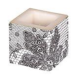 Amscan International ltd Kerze: Würfelkerze, Lace, schwarz, 8 x 8 x 8 cm