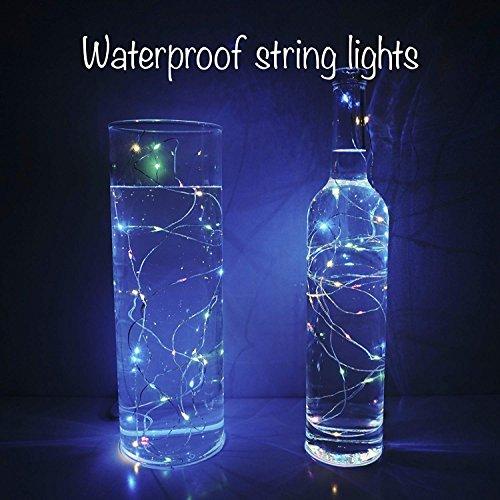 【10 pezzi】 SiFar 20 LED 2M Mini Lampada a fili di rame Multicolore, Luci stringa LED Luci d'atmosfera Bottiglia di vino, Luci stellate alimentate a batteria per bottiglie Fai da te, feste - 3