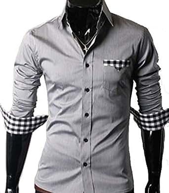GL Fashions Men's Casual Long Sleeve Dress Shirt - Grey - S
