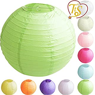 TtS Tissue Paper Round Lanterns LampShade Lamp Shade Wedding Birthday Party Decoration | Apple Green,10