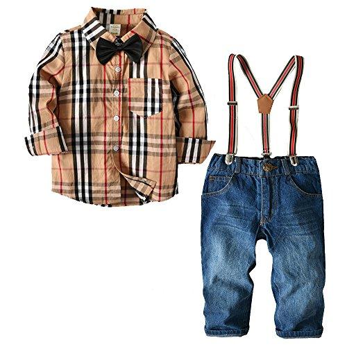 [Bekleidungsset Kinder Jungen] Hemd mit Fliege + Hose mit Träger Baby Gentleman Anzug Baumwolle Kleinkinder Set Babyanzug Khaki