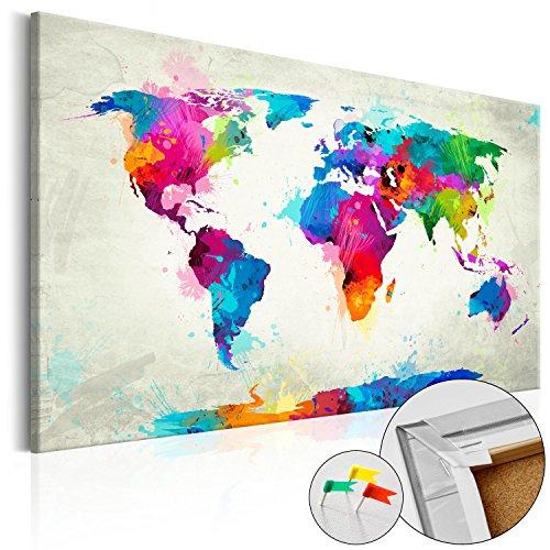 Mapamundi Fisico - Tablero de corcho 120x80 cm