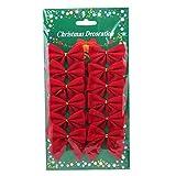 SunnyGod Regalo Delicato e Ideale 12pcs Mini Cerchio Velluto Cravatta di Natale Nastro Archi Ornamenti di Natale Regalo (Rosso)