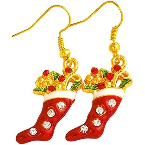Contever® 1 paio Orecchini Gancio a Forma di Natale per Donna Gioielli