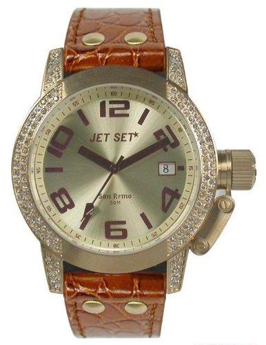 Jet Set-J2068S - 736-San Remo Lady Women's Watch Analogue Quartz Golden Dial Brown Leather Strap