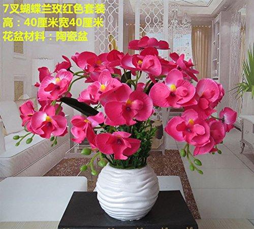 LIXIAOXIN Butterfly Orchid Bonsai False Dekoration Simulation Ornamente Topfpflanzen Rot