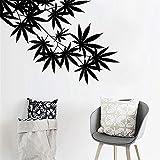 haotong11 Blatt Ahornblatt Vinyl Pflanze Wandaufkleber Kinderzimmer Wandkunst Applique Wandbild Wohnzimmer Dekoration 81 cm x 57 cm