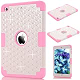 iPad Mini 1/2/3 Cover, GrandEver Dual Layer Hybrid Silicone Armor Protective Case for Apple iPad Mini 1 2 3 Full Body Tough Cover with Bling Diamond Design Silicone Bumper Outer + Hard PC Back Case Shockproof Heavy Duty Protection Shell for iPad Mini 1/2/3 --- Pink + White