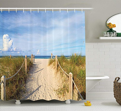 Seaside Decor Collection, Golden Sandy Beach in South Miami with Fences American Style Holiday Login Relax Image, Polyester Fabric Bathroom Shower Curtain Set with Hooks, Cream Blue,66x72 inches (Halloween Happy Miami In)