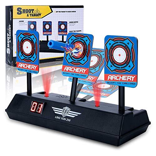 MMLC Shooting Target Elektrische Score Bullet Ständer, Kinder Elektronischer Intelligente Licht Sound Effekt Punktezählung Target Geburtstagsgeschenk-Jungen Krieg (A)